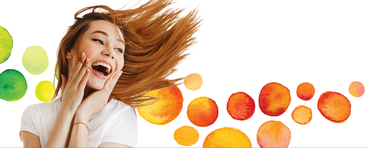 woman jumping and smiling