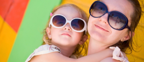 mother and daughter wearing sunglasses and smiling