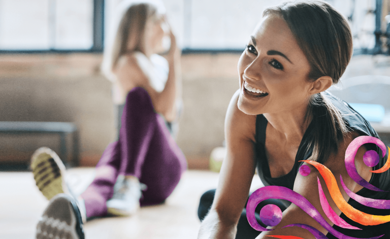 woman smiling and stretching